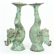 Sale 8390A - Lot 19 - Elephantine Pair of Bronze Candlesticks