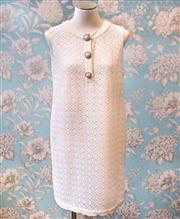 Sale 8474A - Lot 46 - A retro style off white PRADA 60s style shift dress with crystal/diamante & faux pearl buttons, excellent condition, size 44