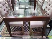 Sale 8611 - Lot 1045 - Modern Glass Top Dining table (H: 75 L: 200 W: 105cm)