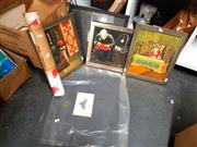 Sale 8682 - Lot 2091 - A quantity of assorted artworks including Chinese paintings, three David Olsen hand-coloured etchings, and other decorative works on...