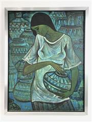 Sale 8699A - Lot 763 - Indian School Blue Girl, on on board, SLL 62, 58 x 44cm