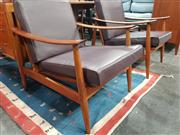 Sale 8723 - Lot 1054 - Pair of Danish Armchairs with Leather Removal Cushions