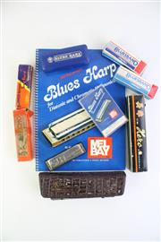 Sale 8823M - Lot 73 - Collection of Harmonicas Incl Honer And Bluesband With tape and Book