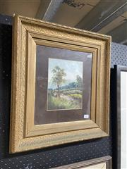 Sale 8995 - Lot 2074 - Artist Unknown Tranquil Riverbank, oil on board, frame: 49 x 44 x 4 cm, unsigned