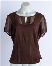 Sale 9003F - Lot 44 - An Emma James Short sleeve brown knit silk top, size 44