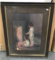 Sale 9016 - Lot 2080 - Artist Unknown Two Young Children by the Fire, decorative print, frame: 76 x 62 cm