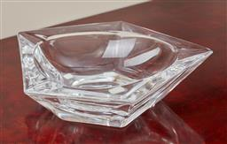 Sale 9099 - Lot 38 - A Daum crystal ashtray of pentagonal form. Width 21cm with Daum etched to side, damage to the extremity