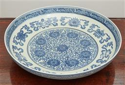 Sale 9108H - Lot 24 - A large blue and white Chinese bowl of generous proportions with peony decoration Depth 40.5cm