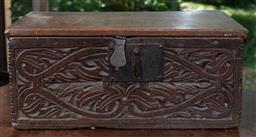 Sale 9120H - Lot 67 - An antique oak lift top bible box with carved decoration to front, Height 22cm x Width 51cm x Depth 27cm