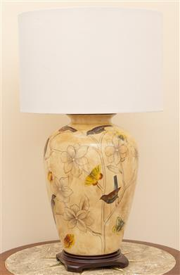 Sale 9190W - Lot 61 - A ceramic table lamp painted with finches, Height 68cm