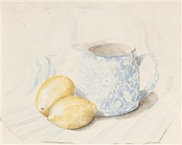 Sale 9216A - Lot 5094 - JACQUI HOGAN Still Life - Lemon and Jug 1995 watercolour 18.5 x 24 cm (frame: 30 x 35 x 2 cm) signed and dated lower right