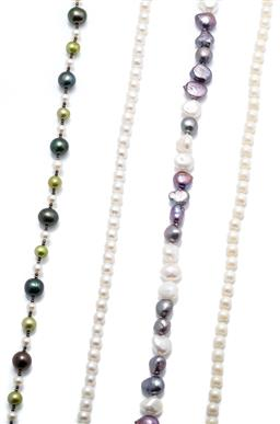 Sale 9253J - Lot 508 - FOUR CULTURED PEARL NECKLACES;  5.7 -10.5mm multicolour freshwater pearls to parrot clasp, length 47cm, 6.5mm round pearls to fishho...