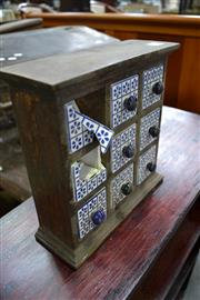 Sale 8013 - Lot 1211 - Small Timber Jewellery Chest With Ceramic Drawers A/F