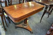 Sale 8093 - Lot 1818 - Early Victorian Rosewood Fold Over Card Table on Pedestal Base