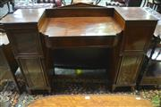 Sale 8335 - Lot 1033 - George III Mahogany Break Front Sideboard, of small proportions, the sunken centre section with a drawer, flanked by a drawer & thre...