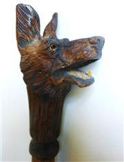 Sale 8362A - Lot 87 - An antique carved timber dog head walking stick, some chips to ears and tooth on head and one eye missing, overall Ht: 97 cm
