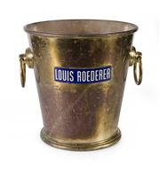 Sale 8444A - Lot 67 - A vintage polished metal and enamel champagne bucket by Roederer, Italy, H 20 cm