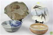 Sale 8486 - Lot 38 - Australian Studio Pottery inc Large Bowls and Dishes (4)