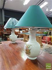 Sale 8550 - Lot 1474 - Pair of French White Porcelain Table Lamps with Floral Motifs (2580)