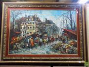 Sale 8561 - Lot 2020 - Artist Unknown, Parisian Scene, oil painting, 60 x 90cm. signed lower right