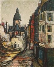 Sale 8597 - Lot 573 - George Feather Lawrence (1901 - 1981) - Untitled, 1963 (European Street Scene) 73 x 58.5cm