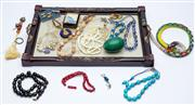 Sale 8414A - Lot 86 - A quantity of costume jewellery including agate beads, plated cufflinks, beaded snake, etc, together with a carved timber tray