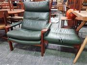 Sale 8661 - Lot 1065 - Tessa Delmont Leather Armchair & Footstool
