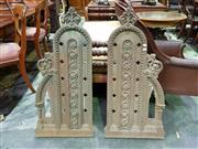 Sale 8653 - Lot 1075 - Pair of Gothic Style Cast Iron Church Pew Ends, with foliate panel, terminal & buttressing column