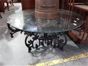 Sale 8740 - Lot 1077 - Ornate Scrolled Metal Base Coffee Table with Round Glass Top