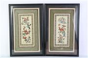 Sale 8778 - Lot 313 - Set 4 Framed Oriental Embroideries