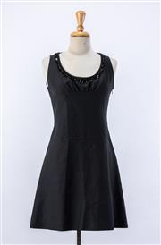 Sale 8891F - Lot 86 - A Chloe black cotton-blend A-line dress with beaded fringing along the neckline, size 10