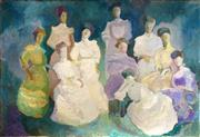 Sale 8958 - Lot 2046 - B Mendel Sunday Class 1905 oil on board, 62 x 92cm (unframed), signed and titled on label verso