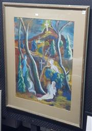 Sale 9028 - Lot 2097 - Artist Unknown Pilgrims at the bottom of the Mountain oil on paper, 96 x 79cm (frame) signed