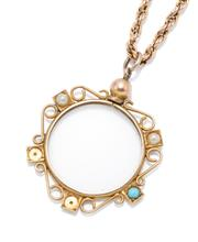 Sale 9054 - Lot 378 - AN ANTIQUE 9CT GOLD LOCKET PENANDT ON CHAIN; circular frame applied with scroll wire and square mounts set with a turquoise and faux...