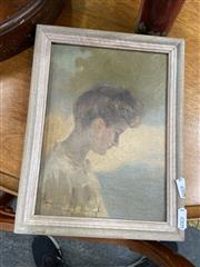 Sale 9082 - Lot 2088 - Artist Unknown Portrait of a Woman oil on canvas on cardboard, 27 x 21cm, inscribed lower left