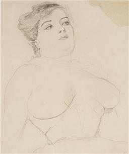 Sale 9244 - Lot 550 - NORMAN LINDSAY (1879 - 1969) Unknown Model (Female Nude), c1909 pencil on paper 27 x 23 cm (frame: 61 x 53 x 3 cm) initialled lower ...