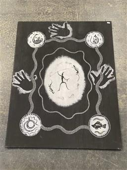 Sale 9159 - Lot 2094 - ARTIST UNKNOWN - Untitled (Spirit Figure) 100 x 80 cm (stretched and ready to hang)