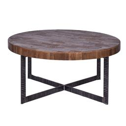 Sale 9180F - Lot 22 - A round coffee table with a reclaimed Elm parquet top and solid iron frame (W 90cm D 90cm H 42cm)
