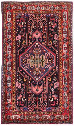 Sale 9181C - Lot 46 - Central West Persian Classic central medallion village Persian rug in navy and coral tones 270 x 155cm