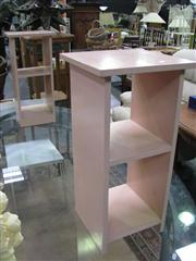 Sale 7932A - Lot 1146 - Pair of Metal Framed Chairs with Pink Side Tables
