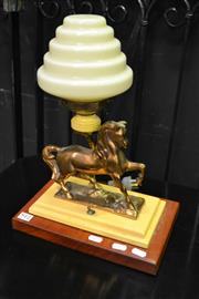 Sale 8127 - Lot 812 - Brass Horse Themed Table Lamp With Deco Shade