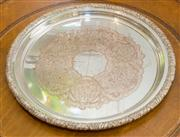 Sale 8308A - Lot 182 - A Hecworth silverplated tray with embossed foliate edge.D: 32cm