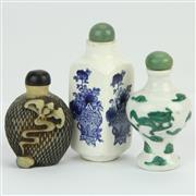 Sale 8390A - Lot 15 - Chinese Green Dragon Snuff Bottle with a Composition Example & a Blue & White Export Ware Example
