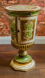 Sale 8420A - Lot 34 - A rare vintage 1940s Italian Florentine side table/stand, featuring sought after green & gilded colourway pedestal base and petite...