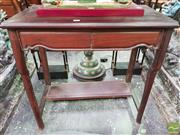 Sale 8444 - Lot 1089 - Chinese Rosewood Side Table, fitted with two frieze drawers & half shelf below