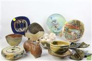 Sale 8486 - Lot 35 - Australian Studio Pottery inc Figure of A Cow with others inc Hand Painted Bowls and Shallow Dishes
