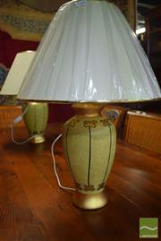 Sale 8550 - Lot 1289 - Pair of Italian Hand Painted Table Lamps in Beige & Gold (3863)