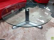 Sale 8637 - Lot 1087 - Glass Top Coffee Table over Chrome Base (H: 42cm D: 110cm)