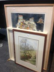 Sale 8645 - Lot 2091 - O. Bican Lithograph, Watercolour Landscape & Framed Cigarette Cards (3)