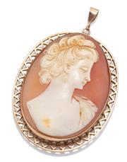 Sale 8974 - Lot 335 - A VINTAGE 9CT GOLD CAMEO PENDANT; oval shell cameo featuring a portrait of a lady to decorative frame, size 49 x 32mm, wt. 9.16g.
